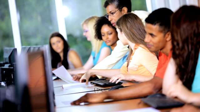 Teenage Multi Ethnic College Students Working Computers video