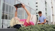 Teenage students studying outside video