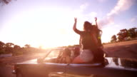 Teenager friends raising arms to celebrate their summer road trip video
