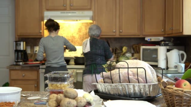 Teenager girl, granddaughter, and her grandmother, silver-haired senior woman, stuffing the turkey for a holiday dinner video