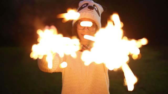 Teenager girl Holding sparkler video