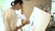 Teenager girl painting on the paper fixed on the easel. video