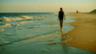 Teenager girl walking on the beach at the sunset video