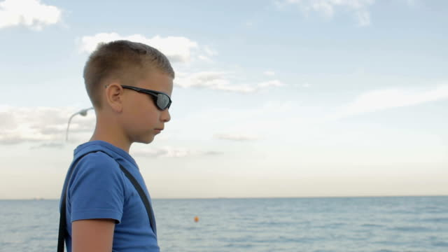 teenager in sunglasses looks at the sea video