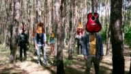 Teenagers in forest. video