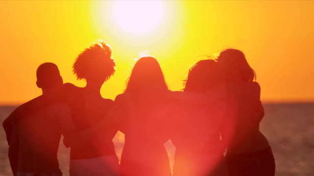 Teenagers Silhouette Watching Beach Sunset video