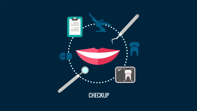Teeth care checkup label animation with smile video