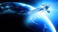 Telecommunication satellite 4  transmitting. Cinema quality 3D animation.  HD. Loop. video