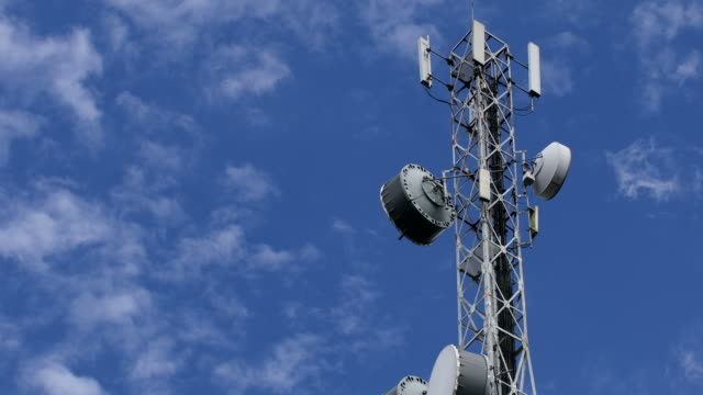 Telecommunication tower with cloud in the sky video