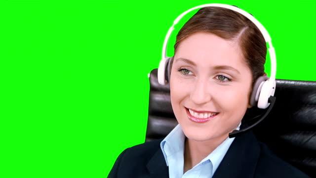 Telemarketer. Customer support operators. callcenter. Croma key. video