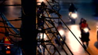 Telephone Pole With Vehicles Passing At Night video