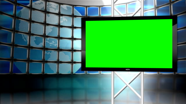 HD Television Monitor with globe background Loop video