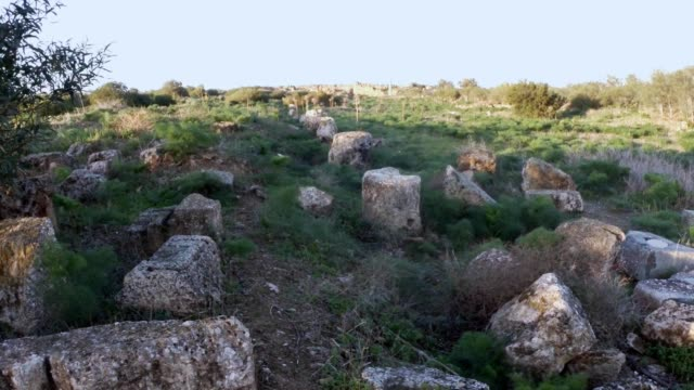 Temple of Zeus remainings of columns ruins antique town Salamis east Cyprus Famagusta video