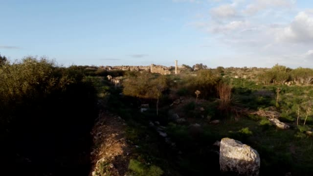 Temple of Zeus remainings of ruins antique town Salamis east Cyprus Famagusta video