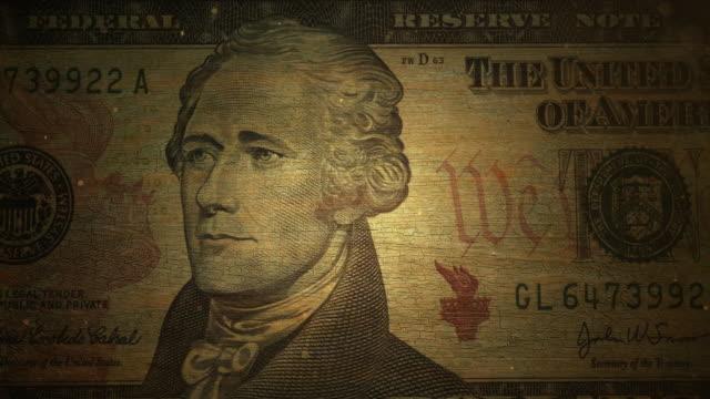 Ten Dollar Bill - Grunge. 4K video