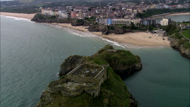 Tenby  - Aerial View - Wales, County of Pembrokeshire, Tenby, United Kingdom video