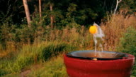 Tennis Ball on a Jet Fountain for Drinking Hovers in the Air video