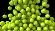 Tennis balls fill screen transition composite overlay video