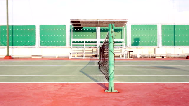 Tennis court with net tracking right video