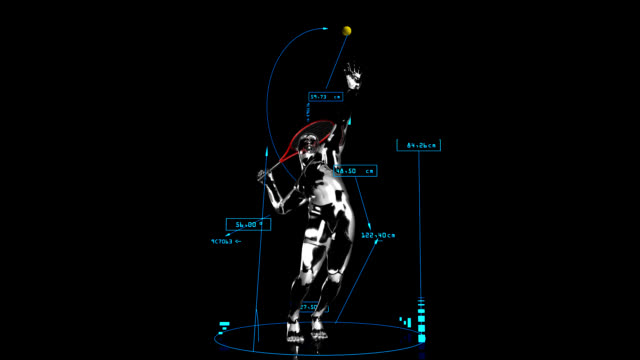 3D tennis man with technical data video