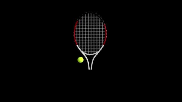 Tennis Racket&Tennis Ball rotating loop isolated with luma matte video