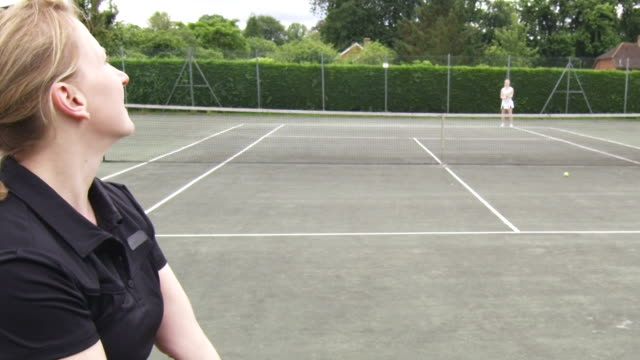 Tennis serve in slow motion video