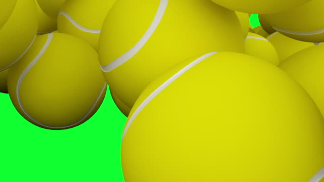 HD : Tennis-ball Animation with Green Screen. video