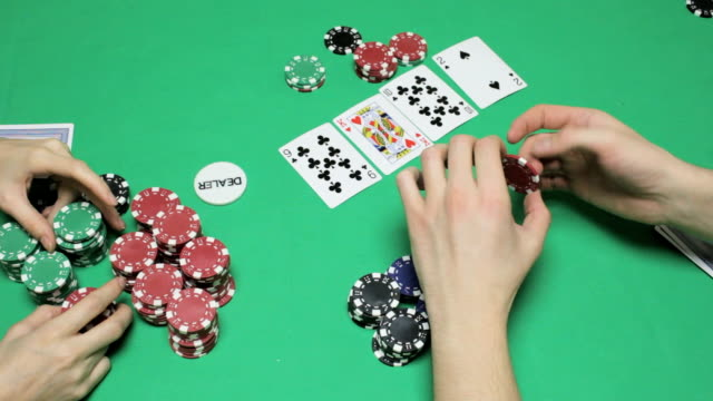 A tense moment at the table in Texas hold'em poker video