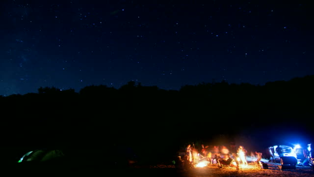 Tent camping in the night, Stars and Milky way Time Lapse Sky Turning Space, camp fire in foreground video