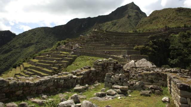 terraces and caretakers hut Machu Picchu timelapse video