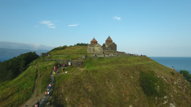 Territory Sevanavank monastery on Sevan lake, Armenia video
