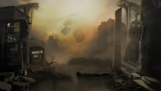 Terror of war matte painting. Ruins and skull. Ecology. Sci-fi. video