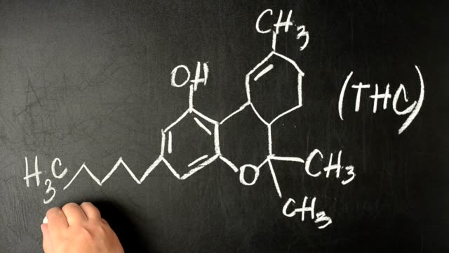 Tetrahydrocannabinol and drawn his chemical formula.Structural model of THC molecule on the blackboard. video