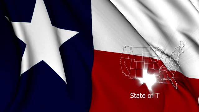 Texas flag with shiny USA maps video