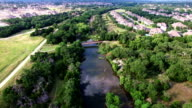 Texas Hill Country Suburbia Golf Courses and Creek Aerial view of Central Texas video
