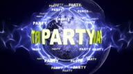 PARTY Text Animation and Disco Ball, Loop video