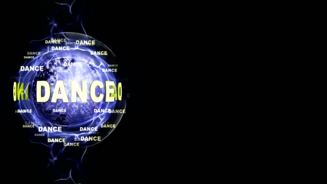DANCE Text Animation and DISCO BALL, Rendering, Background, Loop video