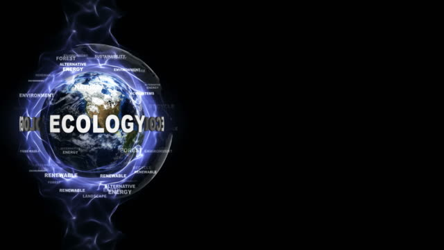 ECOLOGY Text Animation and Earth, Loop video