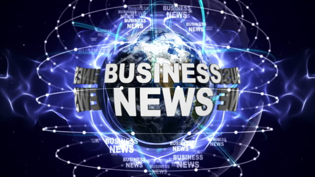 BUSINESS NEWS Text Animation and Earth, Loop video