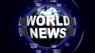 WORLD NEWS Text Animation and Earth, Loop video