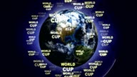 WORLD CUP Text Animation and Earth, Loop video