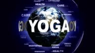 YOGA Text Animation and Earth, Loop video