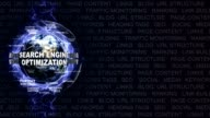 SEARCH ENGINE OPTIMIZATION, SEO, Text Animation and Earth, Loop video