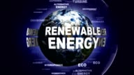 RENEWABLE ENERGY Text Animation and Earth, Rendering, Animation, Background, Loop video