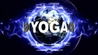YOGA Text Animation and Earth, Rendering, Background, Loop video