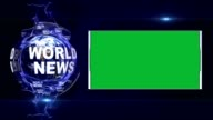 WORLD NEWS Text Animation and Earth, Rendering Background, with Green Screen, Loop video