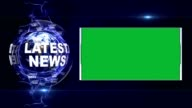 LATEST NEWS Text Animation and Earth, Rendering Background, with Green Screen, Loop video