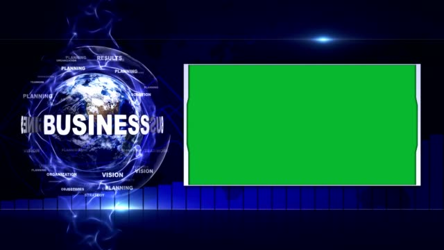 BUSINESS Text Animation and Earth, Rendering Background, with Green Screen, Loop video