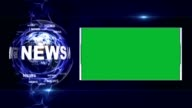 NEWS Text Animation and Earth, Rendering Background, with Green Screen, Loop video