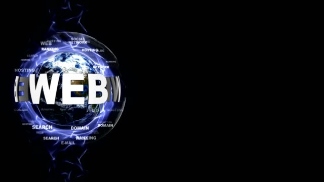 WEB Text Animation and Earth, with Keywords, Background, Rendering, Background, Loop video